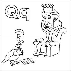 Letter Q Coloring Page Queen Quail Question Mark Questionnaire Quill