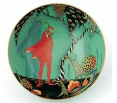 Carlton Ware Mephistopheles/ Devil's Copse wall plate in turquoise