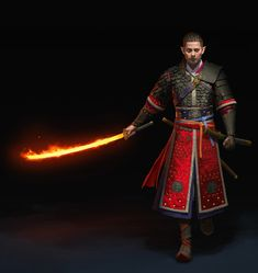 male elf with flaming samurai sword fighter / mage character concept cool weapon DnD / ttrpg character concept Fantasy Samurai, Fantasy Armor, Fantasy Weapons, Samurai Concept, Dungeons And Dragons Characters, Dnd Characters, Fantasy Characters, Fantasy Character Design, Character Concept