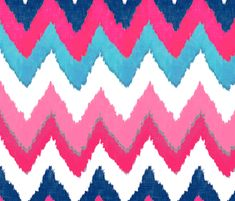 Watercolor Ikat Chevron in Navy, Fuchsia and Aqua Available in traditional as well as peel 'n stick, repositionable wallpaper, and 18 types of fabric!!!