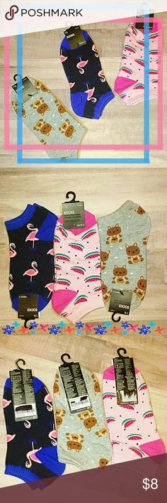 {Forever 21} Girls Sock Bundle *Forever 21 Cute Girls Sock Set  *Grab Her these Cute Socks as an Easter Gift!  *3 Girls Pairs of Knit Ankle Socks with Ribbed Trim, 58% Cotton, 39% Polyester & 3% Spandex.  1)Kangaroos on Light Gray 2)Watermelons on Light Pink & Hot Pink Heels/Toes 3)Flamingos on Black & Blue Heels/Toes  *No Discoloration *No Tears *No Stains  *OFFERS WELCOME *TRADE ALSO Forever 21 Accessories Socks & Tights