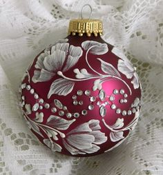 Soft Red MUD Ornament with Roses and Motif Bling. $20.00, via Etsy.