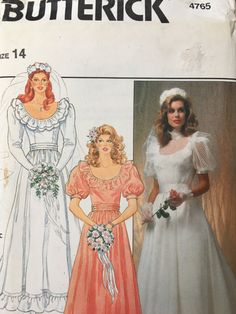 Dress sewing pattern. 1980s elegant, Train Wedding dress Pattern.  4765 Butterick Misses Bridal Wedding Gown Dress Cummerbund Scoop Pattern s14 Wedding gown 1970s 1980s retro style