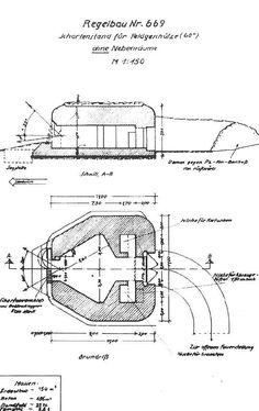 Plano de construcción de un bunker para emplazamiento de artillería del tipo H669, ubicado en varios puntos de las defensas de Normandía, incluyendo las baterías Merville y Saint Martin.