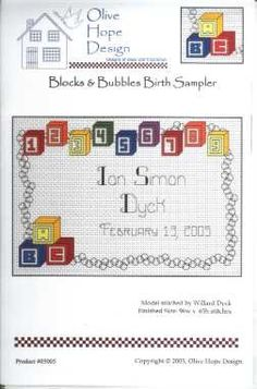 Blocks & Bubbles Birth Sampler Cross Stitch Find your next cross stitch design at Cobweb Corner and save 20% on your first order with coupon WELCOMECC #crossstitch #babies #baby #kids #cobwebcorner