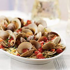 Steamed Clams and Tomatoes with Angel Hair Pasta | MyRecipes