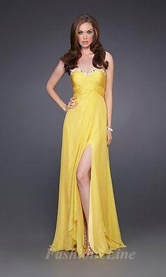 810371b2ba A-line Strapless Sweetheart Drape High Slit Yellow Prom Dress