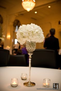 Small Romantic White Hydrangea Centerpiece Arrangements - The French Bouquet | gorgeous bling crystal goblet style vase with tall silver stem topped off with a small white hydrangea arrangement