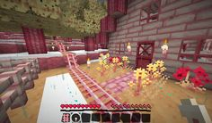 The minecraft texture pack I'm using  It's a combination of various packs like jollicraft and summerfields edited by me to get this lovely pink hue ^^