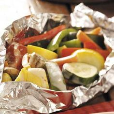 Taste of Home - Steamed Veggie Bundles Recipe...can't wait to try it on the grill. Sounds yummy.