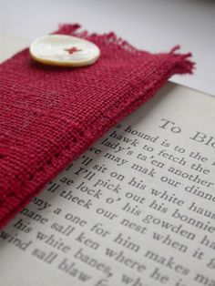 Linen bookmark in scarlet colourway £5.00