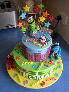 1st bday: Sugar Siren Cakes Mackay: Sesame Street Birthday Cake