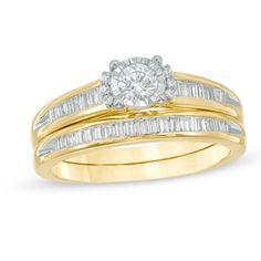 1/2+CT.+T.W.+Diamond+Collared+Bridal+Set+in+10K+Gold