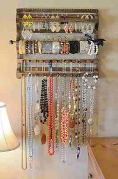 DIY Jewelry Holder Idea for Bracelets - I need it more for necklaces, but I like this style