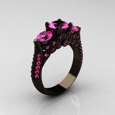 Adelaide Three Stone Solitare Black Gold Sterling Silver with Pink CZ Ring