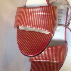True 70s vintage high heeled red gold striped disco sandals! Only one available! Don't miss!