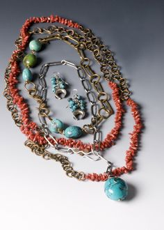 Coral and Turquoise Necklaces and Earrings / @mellisjewelry via Style Blueprint