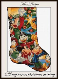 Disney Stockings, Disney Christmas Stockings, Cross Stitch Christmas Stockings, Christmas Stocking Pattern, Christmas Cross, Xmas Stockings, Christmas Ideas, Santa Cross Stitch, Cross Stitch Stocking