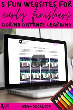 What do you do when your students have finished their distance learning tasks? Remote learning can be challenging as you try to ensure all your students are learning, progressing and occupied. It can be difficult to find suitable and fun virtual learning activities to issue as extension work for your early finishers. Keep reading to learn 5 creative ideas for your early finishers during a distance, hybrid or blended learning classroom! web-decks.com digital coloring pages Free Teaching Resources, School Resources, Teacher Resources, Teaching Ideas, Learning Web, Learning Activities, Teacher Blogs, New Teachers, School Direct