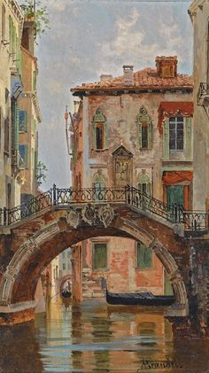 A Bridge over a Venetian Canal Antonietta Branseis (Miscocon, 1848 - Florence, Oil on panel, 21 x cm via Sotheby's, Amsterdam Venice Italy Hotels, Venice Map, Venice Canals, Venice Travel, Gondola Venice, Venice Beach, Venice Hotel, Venice Food, Venice Bridge