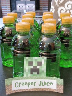 Minecraft Birthday Party can do this with gatorade or powerade bottles and electrical tape for the faces