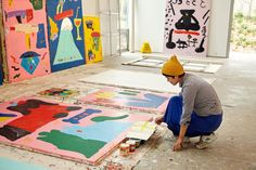 Before showing her new work with Eric Firestone Gallery at NADA, artist Misaki Kawai gave W a studio visit. See the images here. Illustrations, Art And Illustration, Misaki Kawai, Modern Art, Contemporary Art, Artist Workspace, Graffiti, Art Plastique, Creative Studio