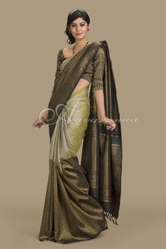 Beige and black thread work silk saree