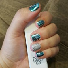 Jamberry Manicure- Turquoise Criss Cross with First Frost accent