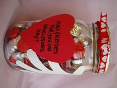 "Craft idea:  Have kids make this cute ""Hugs & Kisses"" jar.  They can fill it with Hershey's Hugs and Kisses, adding one each day, to be enjoyed when the Soldier returns.  #FRG"
