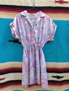 Lavender short sleeve floral dress  by stixandbones on Etsy, $15.00