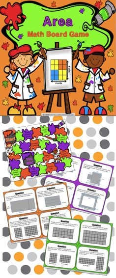 This area game contains 36 WORD PROBLEM area game cards and a game board to help students practice finding the area of plane figures. This area game works great as a pair/group activity, in math centers, or as an informal assessment tool.