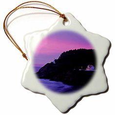 "** Amazing deals just a click away: 3dRose orn_93463_1 Oregon, Heceta Head Lighthouse, Bed Breakfast Inn US38 BJA0132 Jaynes Gallery Snowflake Ornament, Porcelain, 3"" at Christmas Home Decor ."