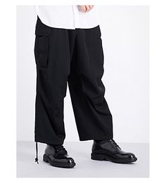 Cheap Cheap Yohji Yamamoto Black H-Army Wide Dropped-Crotch Mid-Rise Wool Trousers for Men Online On Sale