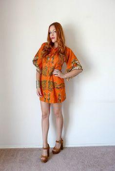 Vintage 70s Orange ANGEL SLEEVE Dragon Mini Dress M. $40.00, via Etsy.