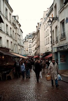 lots of great bakeries, butcher shops, epiceries, restaurants, and everything else food related, along Rue Mouffetard in Paris