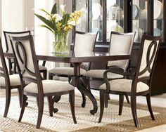 Thomasville Nocturne Dark Mahogany Double Pedestal Contemporary Dining Table