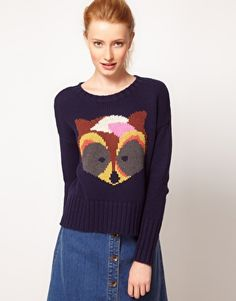 Vero Moda Raccoon Intarsia Knit Sweater