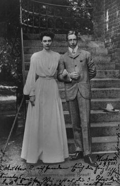 Crown Prince Wilhelm of Germany with his wife Crown Princess Cecilie (nee Duchess of Mecklenburg-Schwerin).  Through her mother, Grand Duchess Anastasia Mikhailovna, Cecilie was a 2nd cousin of Czar Nicholas II.  Kaiser Wilhelm chose Cecilie as a bride for his son in hopes of curing his womanizing.  It didn't work.
