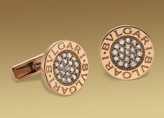 Bvlgari Cufflinks - In Pink Gold and diamonds.