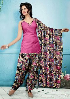 USD 29.08 Pink Flower Printed Punjabi Salwar Suit 37525