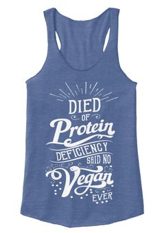 """The one question everyone asks:""""Where'd you get your protein from, girl?!""""This LIMITED EDITION Racerback Tank Top answers those silly questions! PROTEIN is EVERYWHERE, duh!Only 7 Tank Tops of this design to be printed worldwide!"""