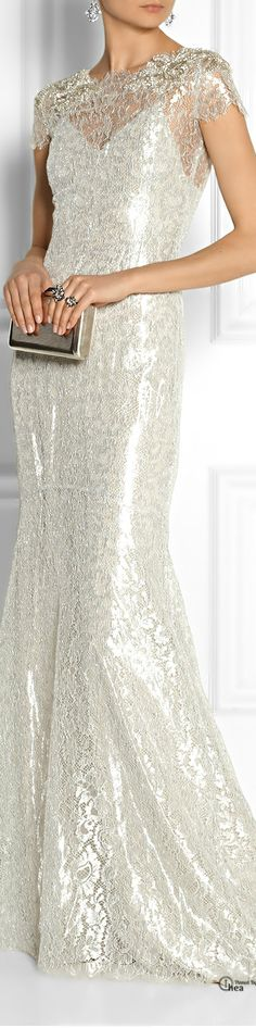 Marchesa ● SS 2014, Embellished metallic lace gown