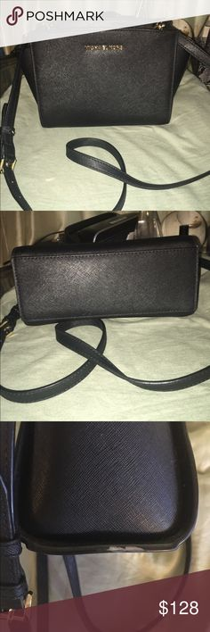 Michael Kors medium Selma Crossbody Good used condition... Only flaw is bottom side has small dent. (Refer to pic 3) beautiful bag!! Gold hardware. No trades!!!! Michael Kors Bags Crossbody Bags