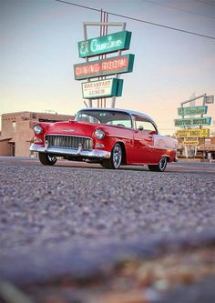 55 Chevy rolling on Route 66