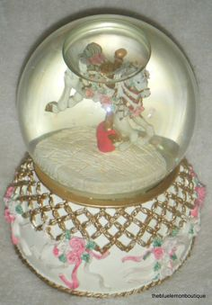 "1992 San Francisco Music Box Co Carousel Horse Snow Globe ""Unchained Melody"""
