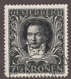 "Austria 1922 semi-postal 7 1/2k black ""Beethoven"