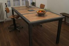 Table industrielle Bois Acier Furniture, Industrial Furniture, Woodworking, Iron, Deco, Modern, Table, Home Decor, Metal