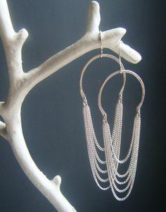 earrings, long sterling silver waterfall earrings, handmade by lolide.