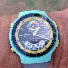 Casio-730-AW-60-Exercise-Trainer-Calorie-Counter-Watch-NOS-RARE-Smiley