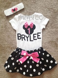 Items similar to Minnie Mouse outfit princess Dress pink first Birthday personalized name Bodysuit disney baby Girl Size 3 6 9 12 18 24 m on Etsy Minnie Mouse Skirt, Minnie Mouse Theme Party, Minnie Birthday, Birthday Ideas, 2nd Birthday, Mouse Outfit, My Baby Girl, Baby Baby, Baby Disney